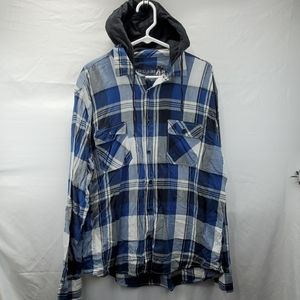 AEROPOSTALE hooded plaid XL button down